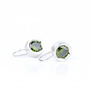 KSK76/S srebro i cyrkonie w kolorze oliwinu