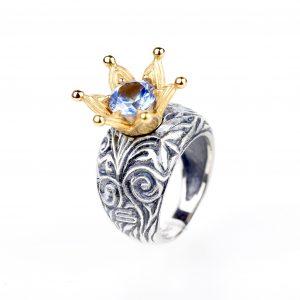 KSP56O/Z srebro oksydowane, cyrkonia w kolorze akwamarynu. Cena: 540 zł
