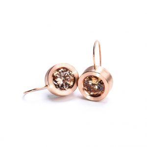 KSK76/R kolczyki - srebro złocone na różowo, cyrkonie w kolorze szampańskim Cena: 360 zł