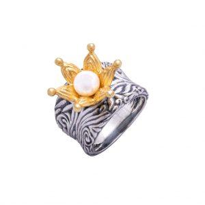 KSP54O/P srebro oksydowane i złocone, perła. Cena: 540 zł